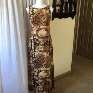 Vintage Hawaiian bark cloth maxi dress